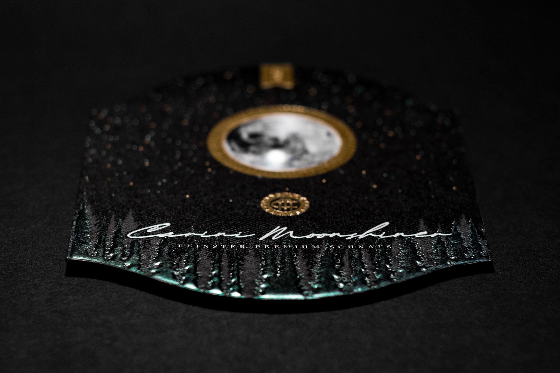 Carini Moonshiner, Etikettendesign, Detailansicht, Bernhard Hafele, Vincent Hehle, viergestalten