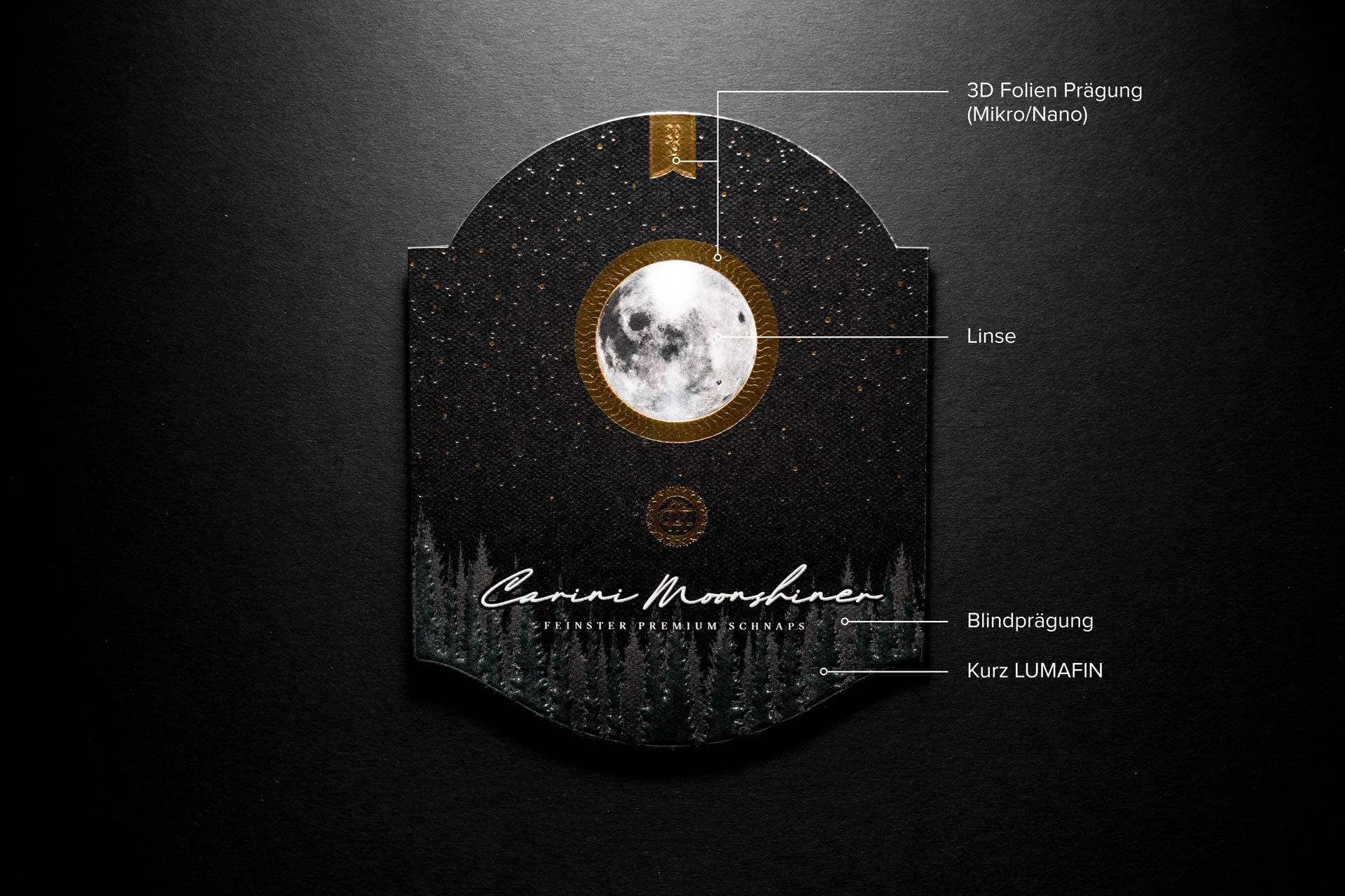 Carini Moonshiner, Etikett, Produktionsbeschreibung, Bernhard Hafele, Vincent Hehle, viergestalten