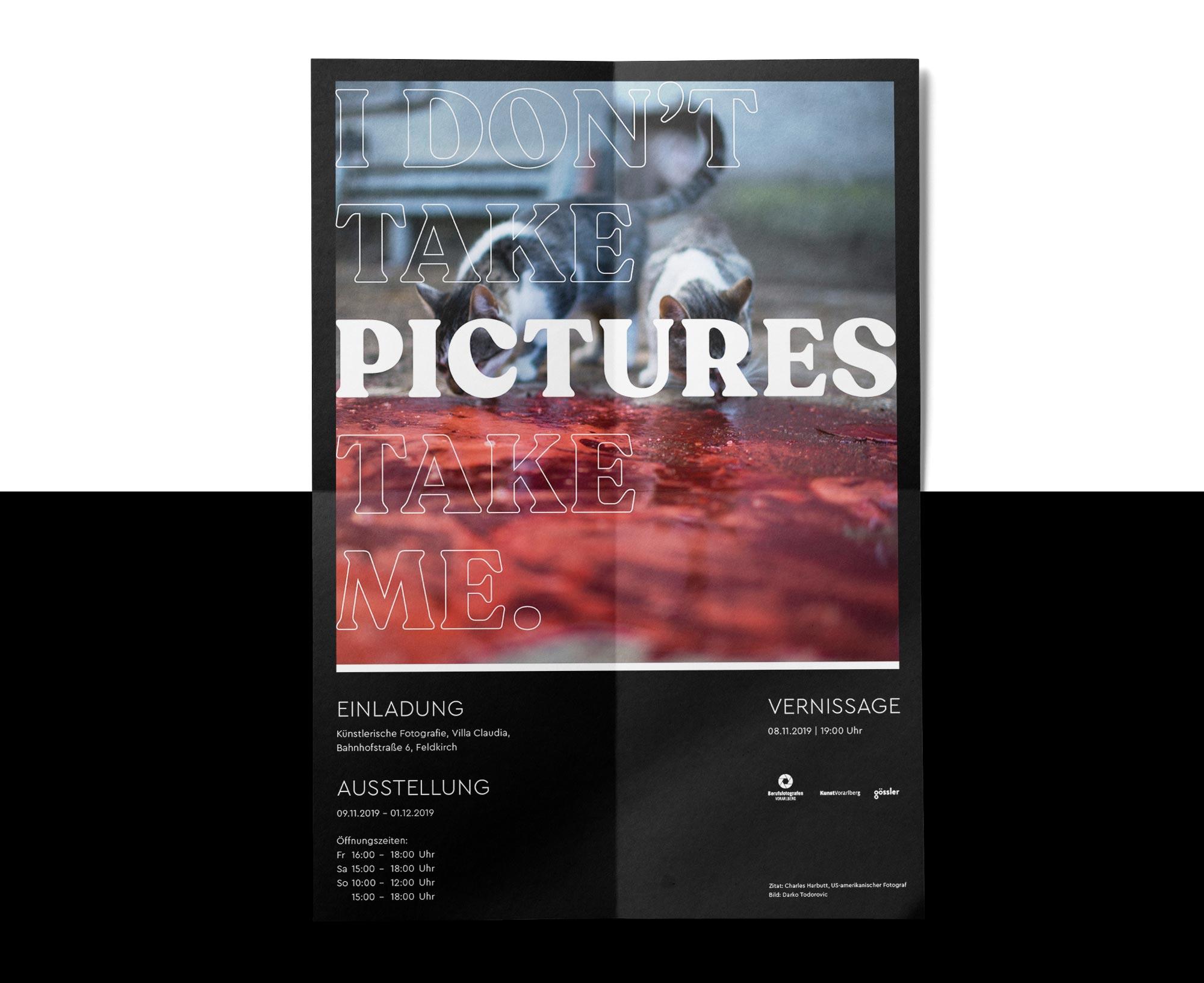 """Personalisierte Einladung für die Ausstellung """"I don't take Pictures. Pictures take me."""" – Bernhard Hafele, viergestalten"""