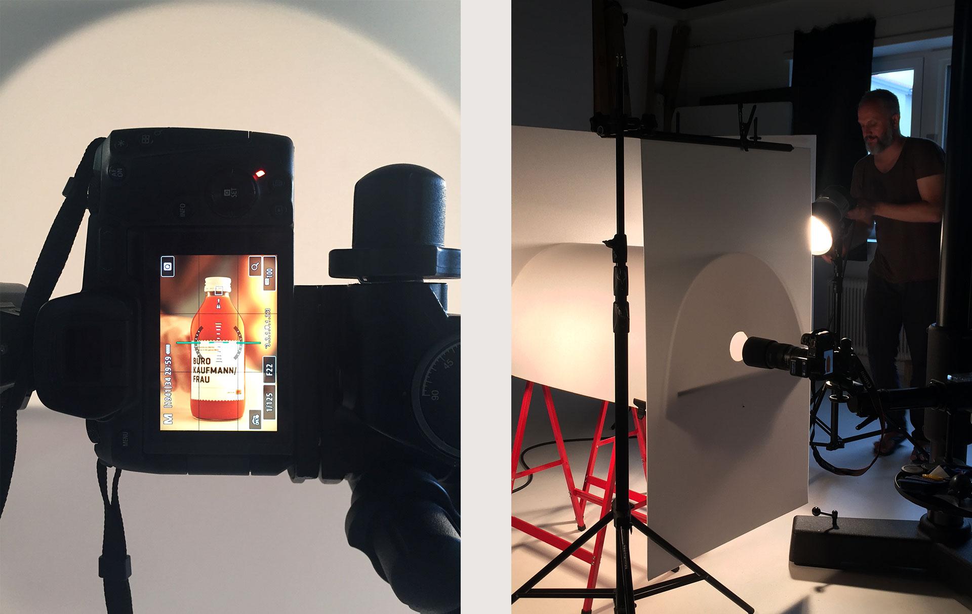 Etiketten CARINI, Shooting, Making-Of, Bernhard Hafele, viergestalten