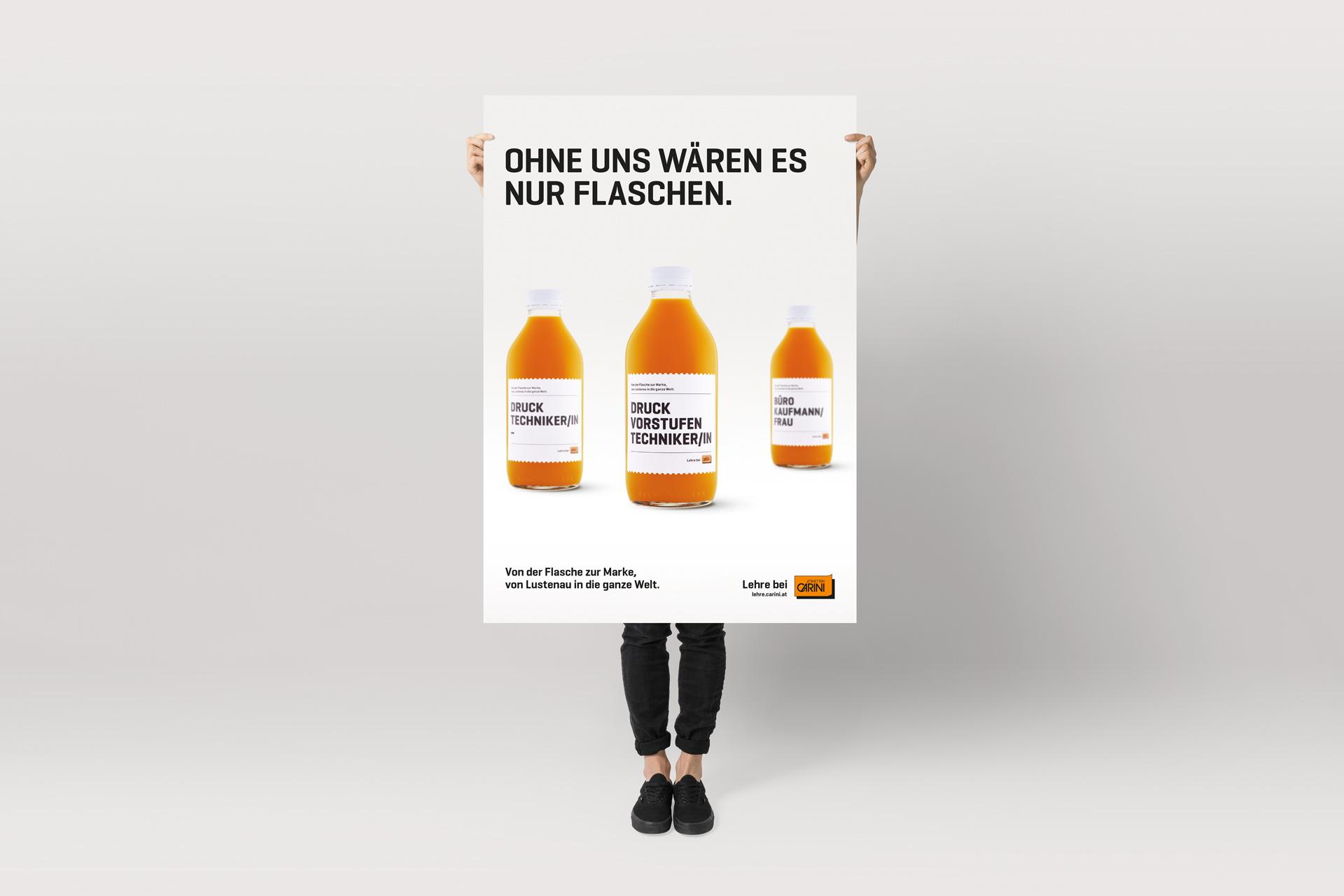 Etiketten CARINI, Plakat, Bernhard Hafele, viergestalten