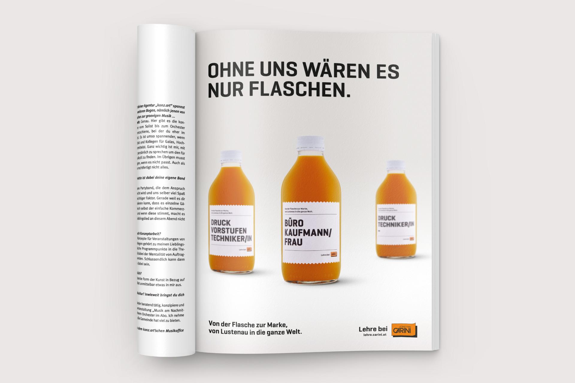 Etiketten CARINI, Anzeige, Lebenslust, Lustenau Bernhard Hafele, viergestalten