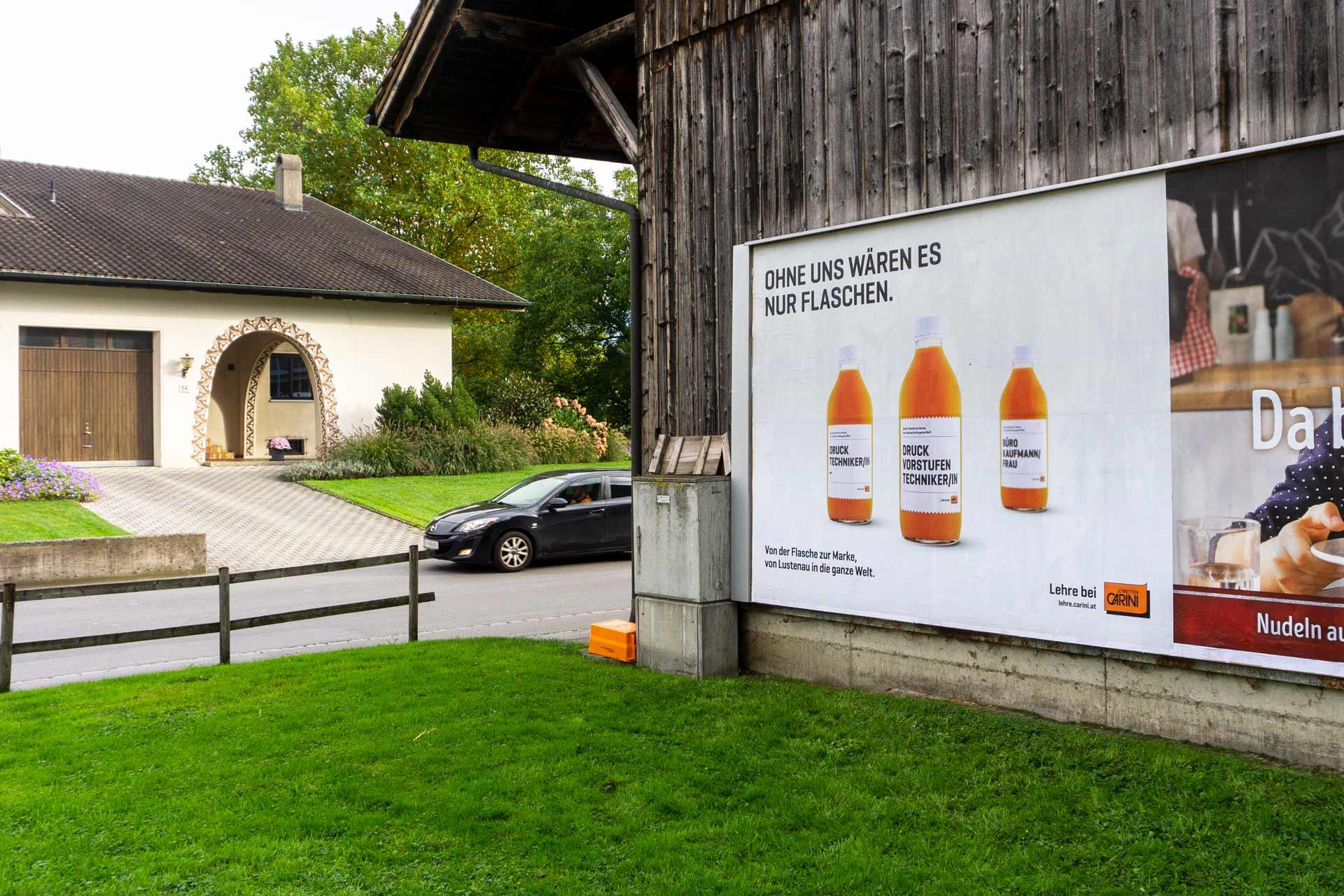 Etiketten CARINI, Plakatkampagne, Bernhard Hafele, viergestalten