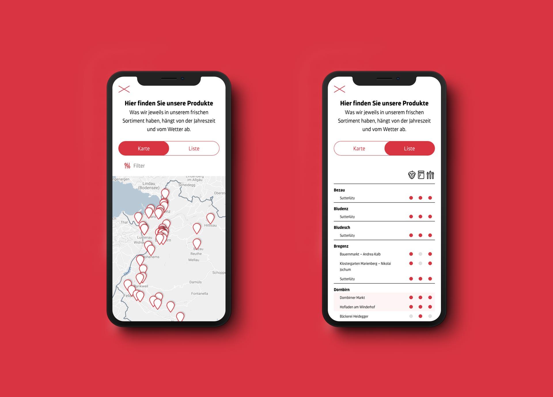 Mobile Ansicht der Standortsuche