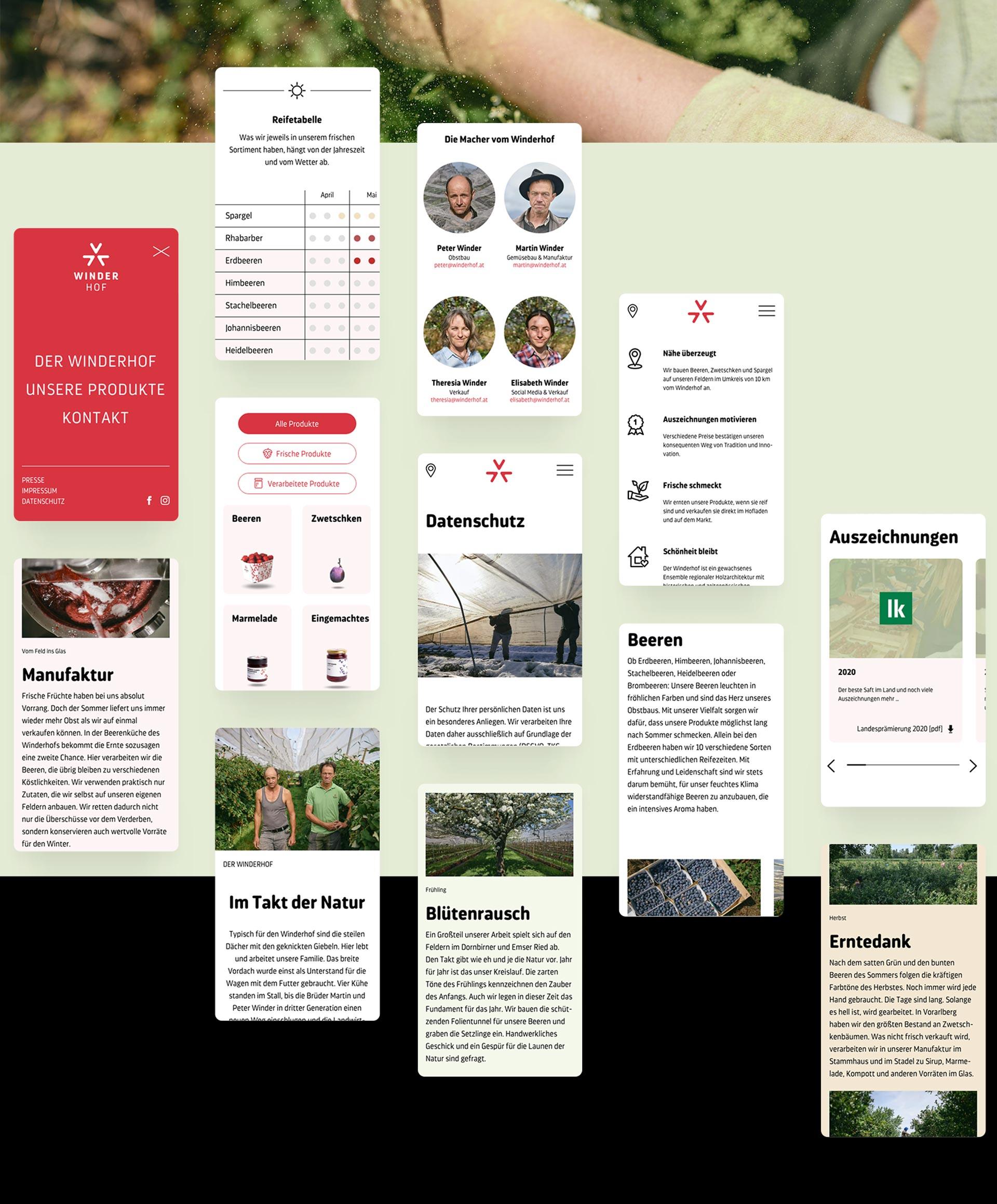 Mobile Screens des Winderhof Webauftritts